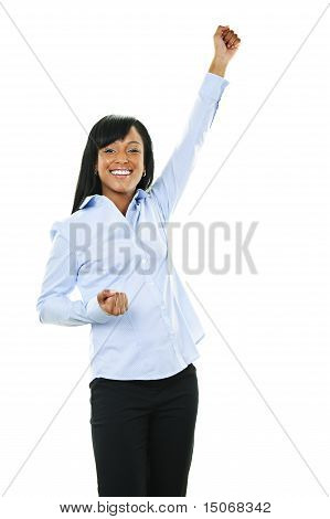 Excited Happy Young Woman With Arm Raised