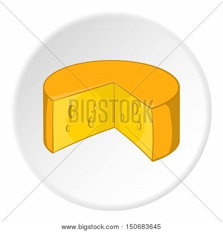 Cheese icon in cartoon style isolated on white circle background. Food symbol vector illustration