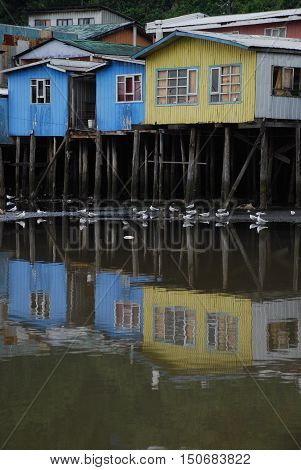 Pile dwelling houses at Chiloe, southern Chile