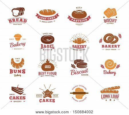 Isolated emblems set of different bread and flour products with editable captions on blank background vector illustration