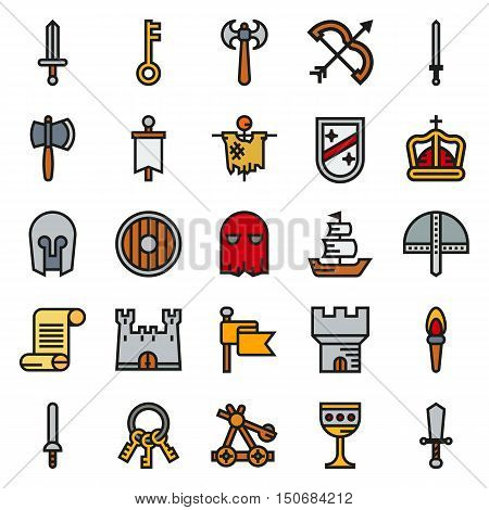 MEDIEVAL icon set of colour simple icons for web app. Vector illustration on white background