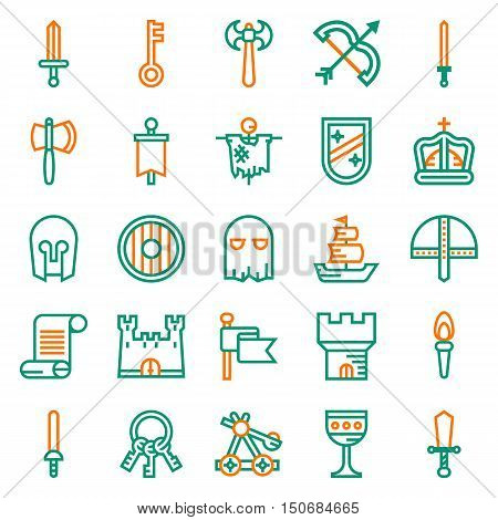 MEDIEVAL icon set of outline icons for web app. Vector illustration on white background