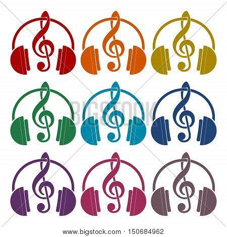 Headphones with treble clef icons set on white background