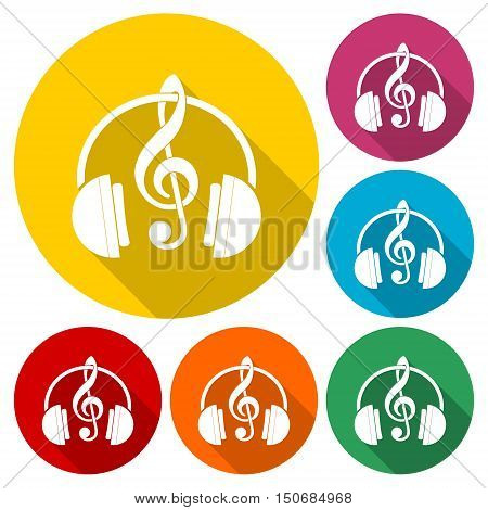Headphones with treble clef icons set with long shadow
