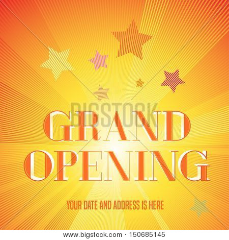 Grand opening vector illustration, background with golden lettering sign. Template banner, flyer, design element, decoration for opening ceremony