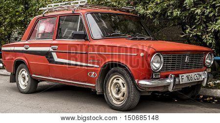 Kazakhstan, Ust-Kamenogorsk, october 5, 2016: lada 1200, old soviet car in the street, retro car, old car, vintage car, zhiguli, sedan, red car