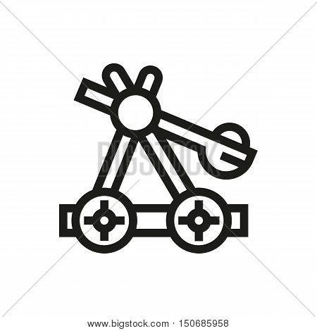 old medieval wooden catapult icon on white background Created For Mobile Infographics Web Decor Print Products Applications. Icon isolated. Vector illustration