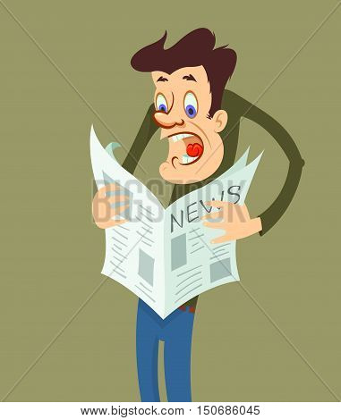 Shocked man reading a newspaper with bad news. Human emotion facial expression