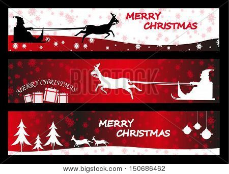 New Year greeting cards and banners, Merry Christmass