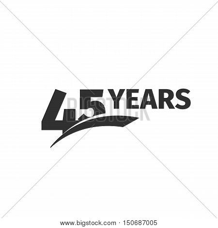 Isolated abstract color 45th anniversary logo on white background. 45 number logotype. Forty-five years jubilee celebration icon. Forty-fifth birthday greeting emblem. Vector anniversary illustration.