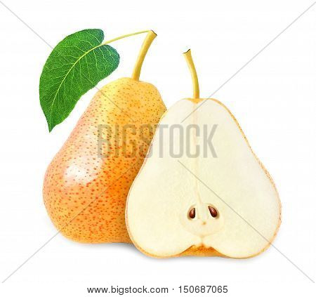 whole and cut yellow pear with leaf isolated on white background with clipping path