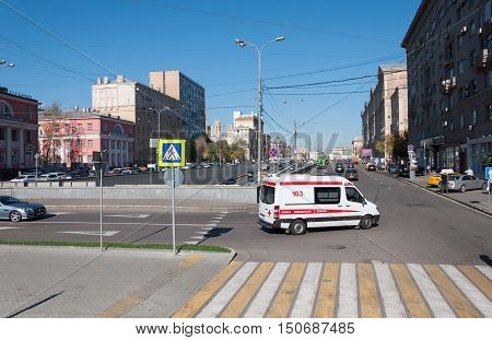 Moscow, Russia - September 22.2015. The Crossing the street Novy Arbat and Novinsky Boulevard