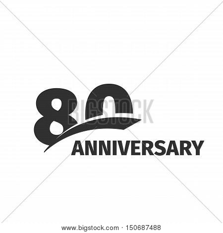 Isolated abstract black 80th anniversary logo on white background. 80 number logotype. Eighty years jubilee celebration icon. Eightieth birthday emblem. Vector anniversary illustration