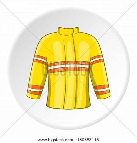 Fire jacket icon in cartoon style isolated on white circle background. Clothing fireman symbol vector illustration