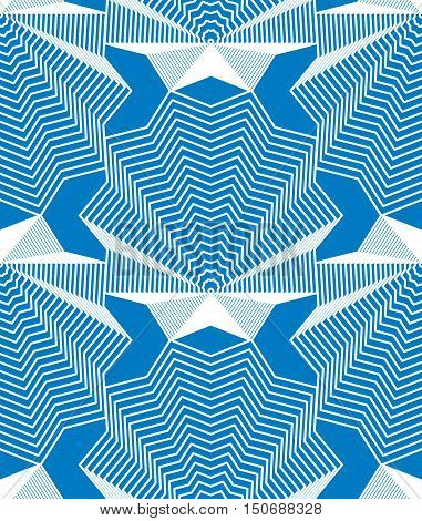 Continuous vector pattern with graphic lines decorative abstract background with geometric figures. Blue ornamental seamless backdrop can be used for design and textile.