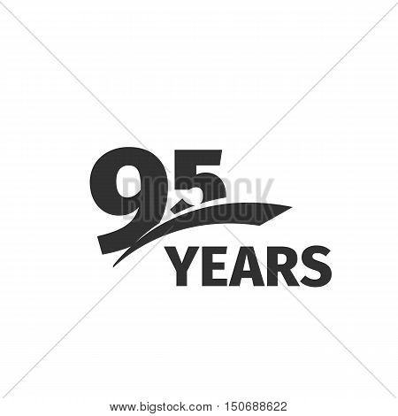 Isolated abstract black 95th anniversary logo on white background. 95 number logotype. Ninety-five years jubilee celebration icon. Ninety-fifth birthday emblem. Vector anniversary illustration
