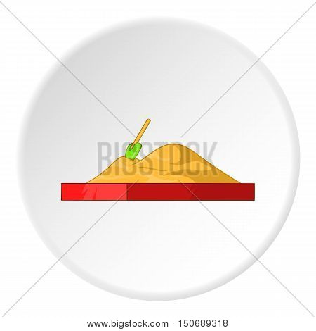 Childrens sandpit icon in cartoon style isolated on white circle background. Playground symbol vector illustration