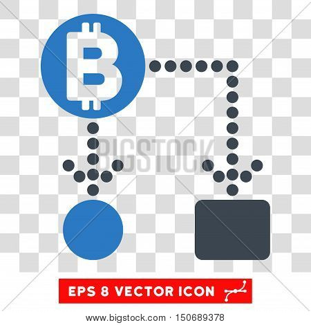 Vector Bitcoin Cashflow EPS vector pictograph. Illustration style is flat iconic bicolor smooth blue symbol on a transparent background.
