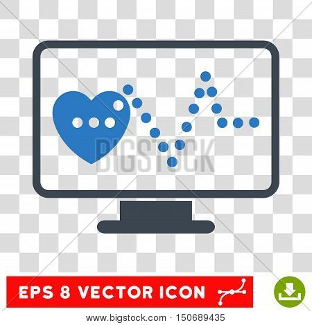 Vector Cardio Monitoring EPS vector pictograph. Illustration style is flat iconic bicolor smooth blue symbol on a transparent background.