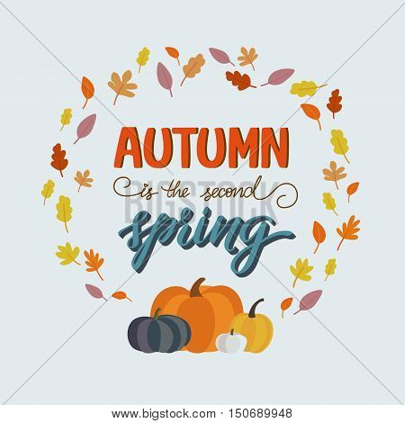 Vector hand-painted poster. Modern calligraphy in vintage style. Hey autumn lettering in vector. Season greeting card.