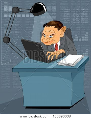 Vector illustration of a working at computer