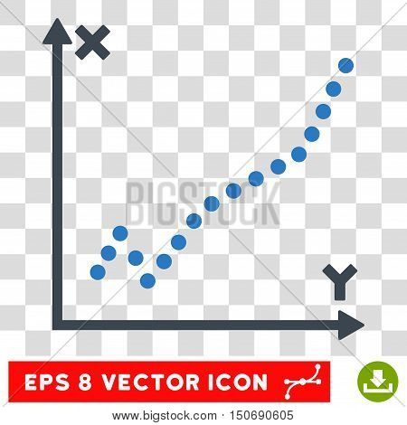 Vector Function Plot EPS vector pictogram. Illustration style is flat iconic bicolor smooth blue symbol on a transparent background.