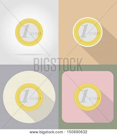 one euro coin flat icons vector illustration isolated on background