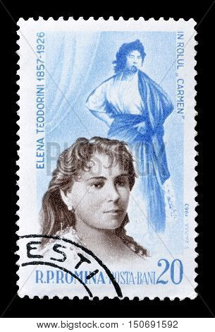 ROMANIA - CIRCA 1964 : Cancelled postage stamp printed by Romania, that shows Elena Teoderini.