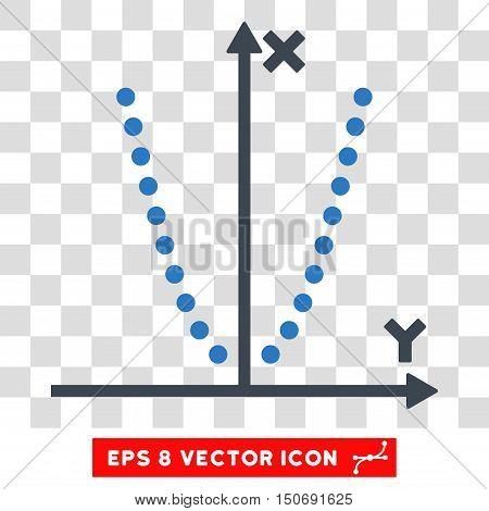 Vector Parabole Plot EPS vector pictograph. Illustration style is flat iconic bicolor smooth blue symbol on a transparent background.