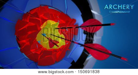 championship 3d crushed archery target with arrows