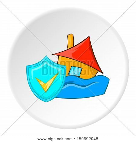 Safety in a flood icon in cartoon style isolated on white circle background. Natural disaster symbol vector illustration