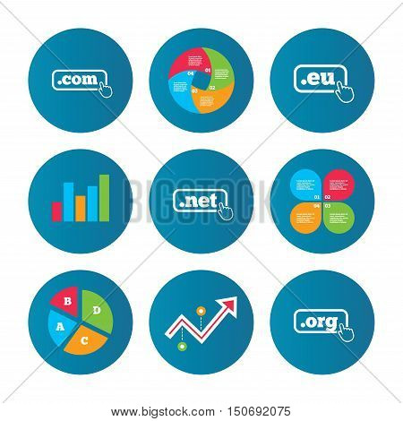 Business pie chart. Growth curve. Presentation buttons. Top-level internet domain icons. Com, Eu, Net and Org symbols with hand pointer. Unique DNS names. Data analysis. Vector