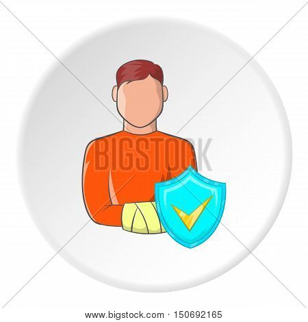 Broken arm of man and sign safety icon in cartoon style isolated on white circle background. Accident symbol vector illustration
