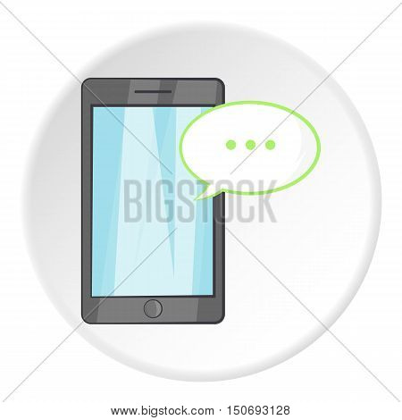Speech bubble on phone icon in cartoon style isolated on white circle background. Gadget symbol vector illustration