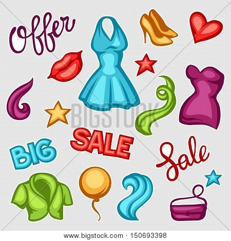 Set of female clothing and accessories. Big sale tags.