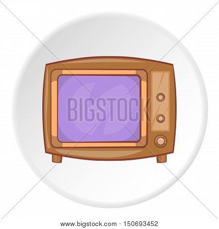 Retro TV icon in cartoon style isolated on white circle background. Broadcast symbol vector illustration