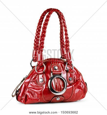 red handbag isolated on white patent