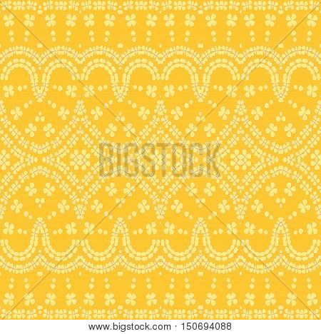 Abstract geometric seamless vintage background, single color. Regular floral ornament pastel yellow on amber, ornate and dreamy.
