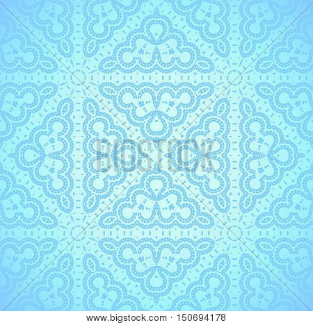 Abstract geometric seamless background, shiny and elegant. Regular ornaments in light blue shades with round elements, delicate and dreamy.