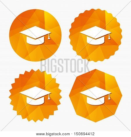 Graduation cap sign icon. Higher education symbol. Triangular low poly buttons with flat icon. Vector