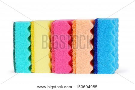 Sponges on a white background windshield, microfiber, sud,