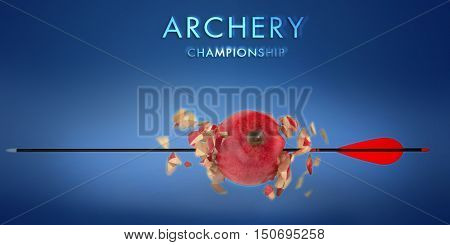 3d aim apple pierced by an arrow