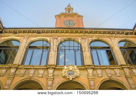 Bologna Italy 14 August 2016: The facade of the Archiginnasio buinding in Bologna the most ancient university in Europe