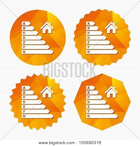 Energy efficiency icon. Electricity consumption symbol. House building sign. Triangular low poly buttons with flat icon. Vector