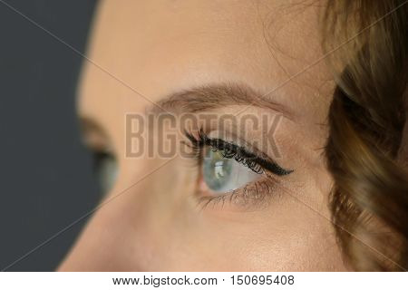 Eye blue, looking attentively at something. Human vision is priceless. Girl's eyes closeup. Ophthalmology for health.