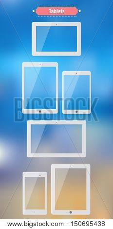 Tablets. Flat images with standard full sizes. Useful template for mock up or other designs. Vector eps10 illustration.