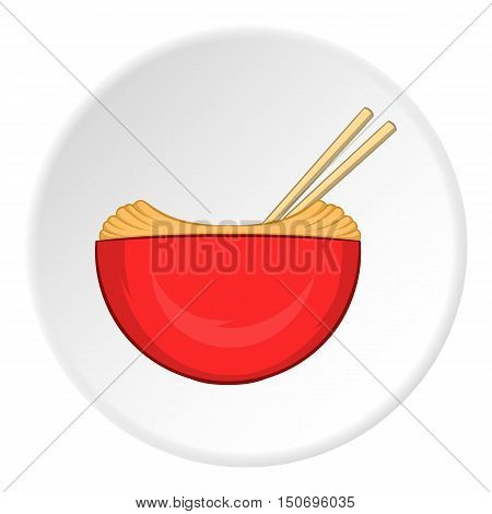 Noodles with chopsticks icon in cartoon style isolated on white circle background. Food symbol vector illustration