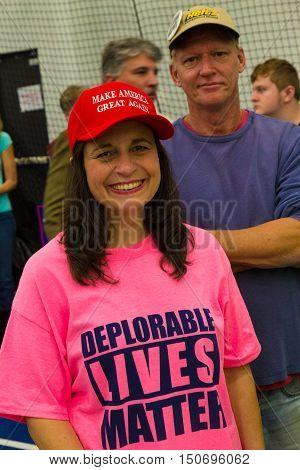 Manheim PA - October 1 2016: A woman wears a