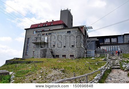Building cableway in the mountains, Slovakia, Europe