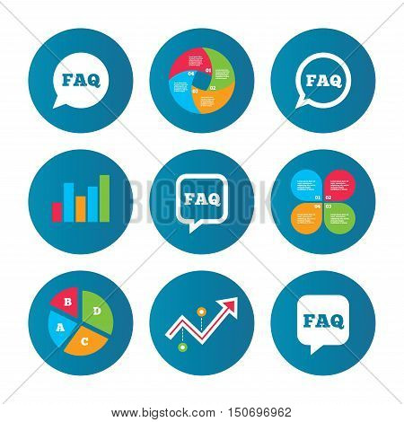 Business pie chart. Growth curve. Presentation buttons. FAQ information icons. Help speech bubbles symbols. Circle and square talk signs. Data analysis. Vector